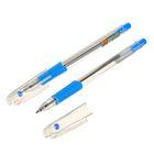 Ручка шариковая, 0.7 мм, стержень синий, корпус прозрачный с резиновым держателем