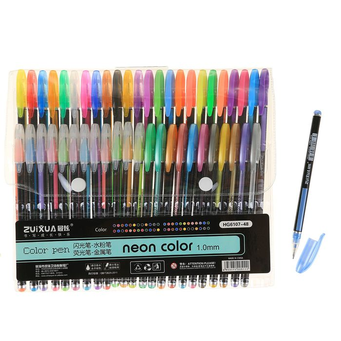 Набор гелевых ручек, 48 цвета, корпус с рисунком, в блистере на кнопке