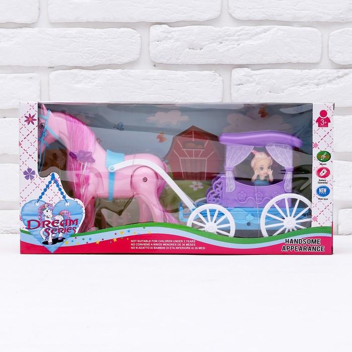 Карета для кукол «Сказка» с куклой малышкой, лошадка ходит, звуковые эффекты, МИКС