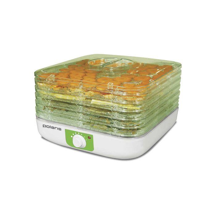 Сушилка для овощей и фруктов Polaris PFD 1005, 240 Вт, 5 секций, белый/зеленый