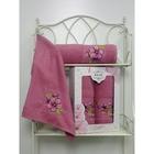 Комплект полотенец MERZUKA махр.в кор 50x90/70х140 2шт SAKURA тёмно-розовый хл.460г/м