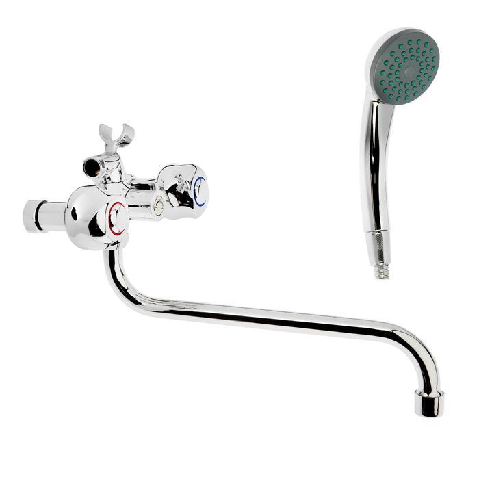 Cмеситель для ванны и душа Accoona A87177, двухрычажный, с душевым набором, силумин, хром