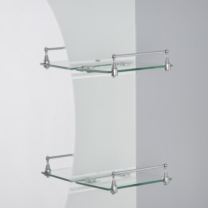 Зеркало в ванную комнату двухслойное 80×60 см Ассоona A602, 3 полки