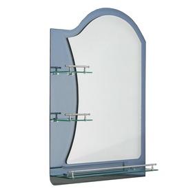 Зеркало в ванную комнату двухслойное Ассоona A623, 80×60 см, 3 полки, цвет сталь