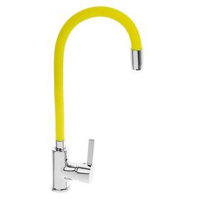Смеситель для кухни Accoona A9890H, однорычажный, с силиконовым изливом, жёлтый/хром