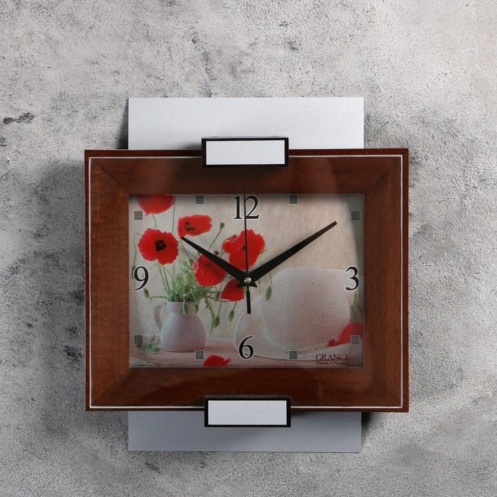"""Часы настенные, серия: Классика, """"Grance"""", цвет венге, серебро маки"""