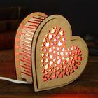 """Соляной светильник """"Сердце"""", с кристаллами соли, деревянный декор"""