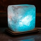 """Соляной светильник """"Квадратик"""", малый 8 х 8 х 6 см, цвет синий, цельный кристалл"""