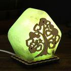 """Соляной светильник """"Домик из дерева"""", деревянный декор, цветной, зеленый, цельный кристалл"""