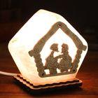 """Соляной светильник """"Домик"""", малый, 19 х 13 см, деревянный декор, цельный кристалл"""