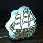 """Соляной светильник """"Кораблик"""", большой, цветной, синий, деревянный декор 18 х 20 х 6 см, цельный кристалл"""