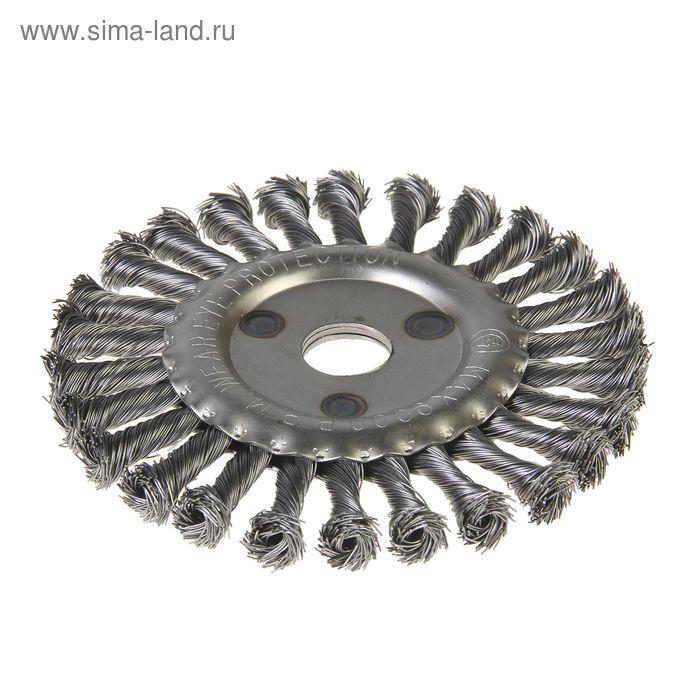 Щетка-крацовка дисковая Hobbi, крученная проволока, диаметр 150мм, посад. диаметр 22,2 мм