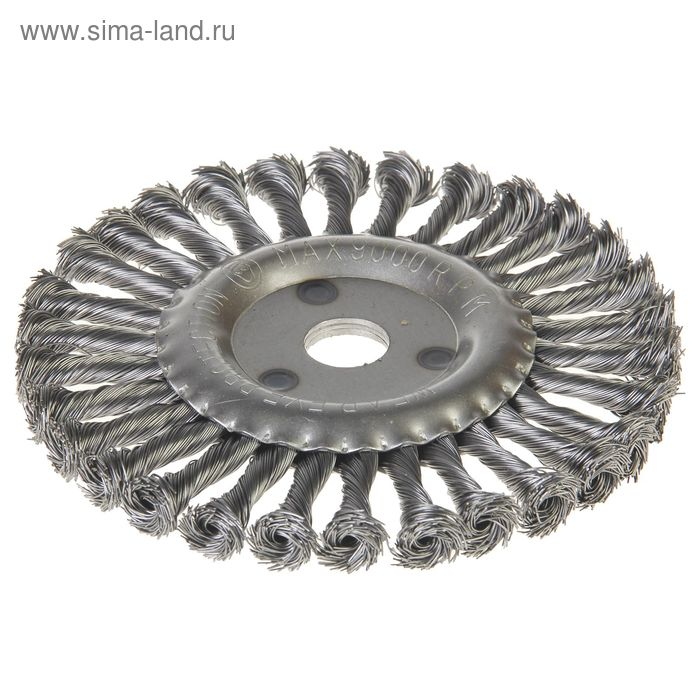 Щетка-крацовка дисковая Hobbi, крученная проволока, диаметр 175мм, посад. диаметр 22,2 мм