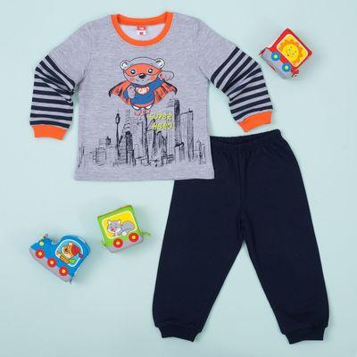 Пижама для мальчика, рост 92 см, цвет серый меланж