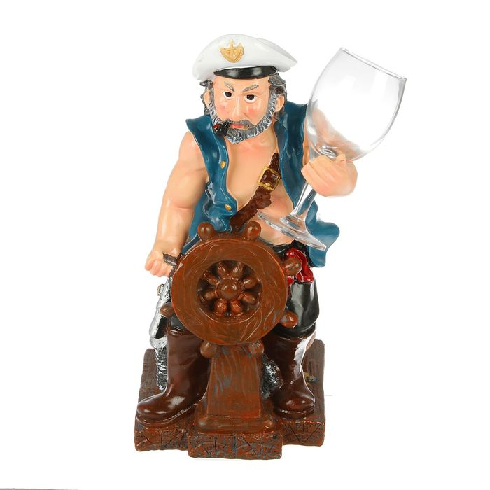 Подставка для бутылки моряк за штурвалом, с бокалом, цвет микс, 18*15*33см