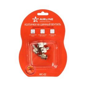 Колпачки на шинный вентиль с ключом,хром,металлAVC-02 Ош