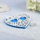 """Подставка для колец """"Ажур"""", бело-синяя, 14,5х13х0,8 см - фото 7640512"""
