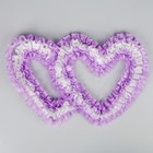 Украшение на машину Сердца(двойные) шелк, 3 ряда лент по 5 см, цвет сиреневый