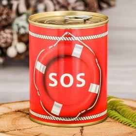 Копилка-банка металл SOS 7,6х9,5 см Ош