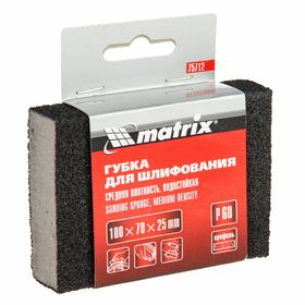 Губка для шлифования MATRIX, 100 х 70 х 25 мм, средняя плотн., P60 Ош