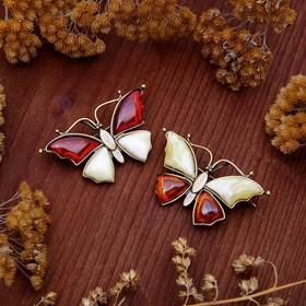 Брошь 'Янтарь' бабочка малая, цвет МИКС в бронзе Ош