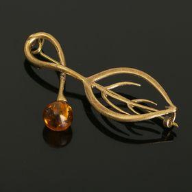 Брошь 'Янтарь' листок, цвет коричневый в бронзе Ош