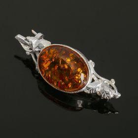 Брошь 'Янтарь' этно, цвет коричневый в посеребрении Ош