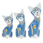 """Сувенир дерево """"Кошки синего цвета с цветком"""" набор 3 шт h=10, 12, 15 см"""