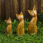 "Сувенир дерево ""Кошки с золотыми ушками и рисунком"" набор 3 шт h=15, 20, 24 см"