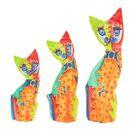 """Сувенир дерево """"Кошки радужные"""" набор 3 шт h=15, 20, 24 см"""