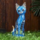 """Сувенир дерево """"Кошка синяя с перламутровыми вставками"""" 30х10х4 см"""