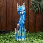 """Сувенир дерево """"Кошка синяя с перламутровыми вставками"""" 40х12х4,5 см"""