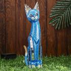 """Сувенир дерево """"Кошка синяя с перламутровыми вставками"""" 50х14х5 см"""