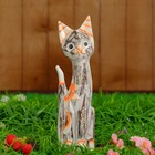 """Сувенир дерево """"Кошка серая с цветком"""" 30х10х3 см"""