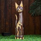 """Сувенир дерево """"Кошка серая с цветком"""" 50х11х7 см"""