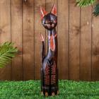 """Сувенир дерево """"Кошка в галстуке, на лапках рисунок треугольнички"""" 60х12х4 см МИКС"""