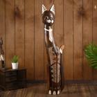 """Сувенир дерево """"Кошка в галстуке, на лапках рисунок треугольнички"""" 80х17х6 см"""