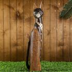 """Сувенир дерево """"Кошка мраморная с цветами на шубке"""" 80х18х6 см"""