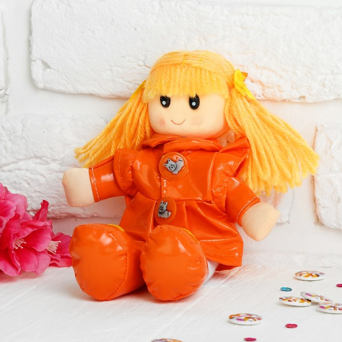 Мягкая кукла в плаще, яркая - фото 106525199