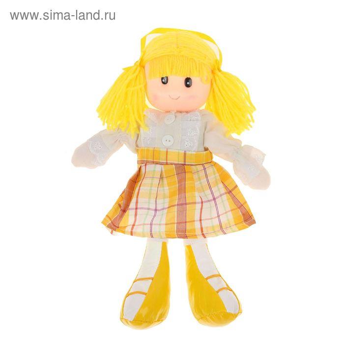 Мягкая кукла в жилетке, юбка в клеточку, МИКС