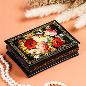 Шкатулка «Цветочная роспись», 10×14 см, лаковая миниатюра