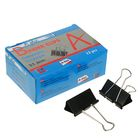 Набор зажимов для бумаг черных 51мм 12шт в картонной коробке A plus
