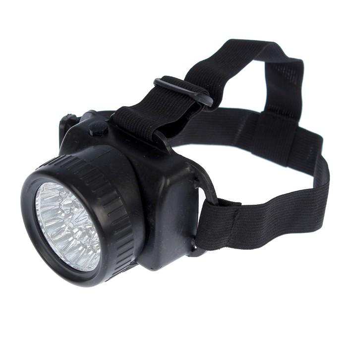 Фонарик налобный с лентой, 21 LED, чёрный