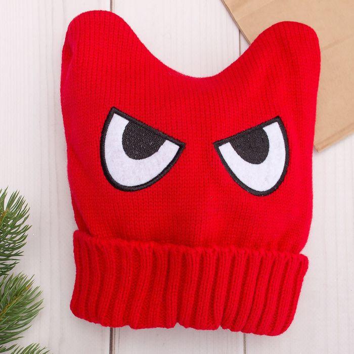 "Шапка для мальчика ""Angry"", размер 48-50, цвет красный"