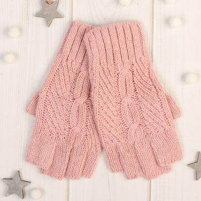"Митенки женские ""Амалия"", размер 16, цвет розовый"