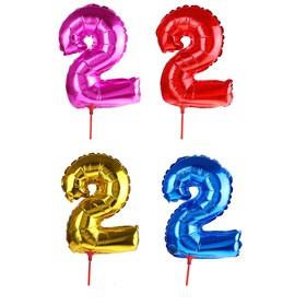 Шар фольгированный 14', цифра 2, трубочка, цвета МИКС Ош