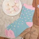 """Носки женские тёплые Collorista """"Сердечки"""", размер 23-25, цвет голубой/розовый"""