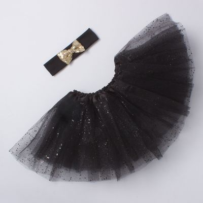 """Набор Крошка Я """"Маленькая принцесса"""" юбка и повязка на голову 3-5 лет, черн+золото"""