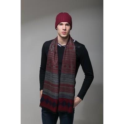"""Шапка шерстяная мужская """"Амадео"""", размер 56-58, цвет бордовый"""