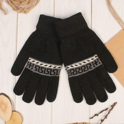 """Перчатки шерстяные мужские """"Кирос"""", размер 10, цвет чёрный"""